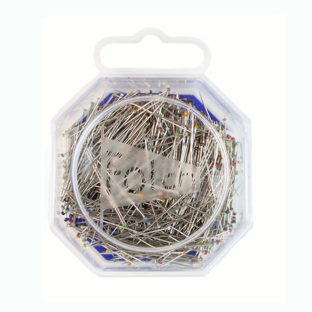 20g cabeza de vidrio agujas de acero 1 plata de colores amarillo 0,60 x 43 mm